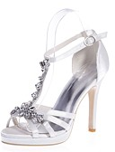 cheap Wedding Dresses-Women's Shoes Satin Spring / Summer Basic Pump Sandals Stiletto Heel Open Toe Rhinestone Red / Champagne / Ivory / Wedding