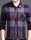 cheap Men's Shirts-Men's Street chic Cotton Slim Shirt - Houndstooth / Long Sleeve