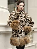 preiswerte Damen Pelzmantel-Damen - Leopard Pelzmantel, Ständer Kunst-Pelz überdimensional / Herbst