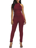 cheap Women's Jumpsuits & Rompers-Women's Backless Plus Size Daily / Going out Black Wine Jumpsuit, Solid Colored XL XXL XXXL High Waist Sleeveless Summer