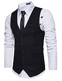 cheap Men's Blazers & Suits-Men's Work Basic Spring / Fall Regular Vest, Solid Colored V Neck Sleeveless Polyester Dark Gray / Navy Blue / Light gray L / XL / XXL / Slim