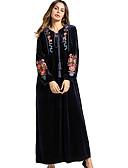 זול סוודרים לנשים-מידי צבע אחיד - שמלה משוחרר כותנה בסיסי בגדי ריקוד נשים