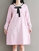 olcso Női pulóverek-Női Pamut Bő Ruha Színes Térd feletti Terített nyak