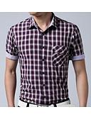 billige Herreskjorter-Klassisk krave Herre - Ternet Trykt mønster Skjorte / Kortærmet