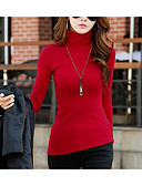 cheap Women's Coats & Trench Coats-Women's Going out Street chic T-shirt - Solid Colored Turtleneck