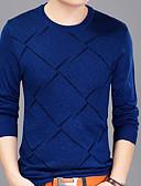 זול חולצות לגברים-משובץ צווארון עגול כותנה, טישרט - בגדי ריקוד גברים / שרוול ארוך