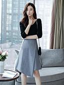 זול חולצה-חצאית צבע טהור, אחיד - טישרט סגנון רחוב ליציאה בגדי ריקוד נשים / סתיו