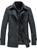 זול טישרטים לגופיות לגברים-אחיד צווארון חולצה מעיל - בגדי ריקוד גברים צמר / שרוול ארוך