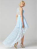 cheap Bridesmaid Dresses-A-Line Jewel Neck Asymmetrical Lace Bridesmaid Dress with Sash / Ribbon by LAN TING BRIDE® / Sparkle & Shine