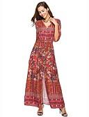 رخيصةأون فساتين مطبوعة-فستان نسائي قياس كبير فضفاض / متموج بوهو منفصل - قطن طويل للأرض ورد خصر عالي V رقبة شاطئ