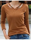 preiswerte T-Shirt-Damen Solide Baumwolle T-shirt, V-Ausschnitt / Frühling