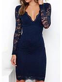 preiswerte Kleider-Damen Festtage Baumwolle Schlank Hülle Kleid Solide Übers Knie V-Ausschnitt Blau