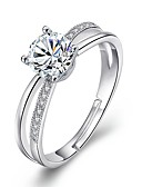 cheap Women's Nightwear-Women's Cubic Zirconia Statement Ring - Alloy Simple Adjustable Silver For Wedding / Engagement