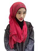 זול צעיפים אופנתיים-אופנה כיסוי ראש חיג'אב Abaya אדום כחול ורוד כחול ורוד שיפון אביזרי קוספליי