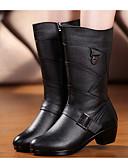 ieftine Voal de Nuntă-Pentru femei Pantofi Nappa Leather / Piele Primăvară / Toamnă Confortabili / Cizme la Modă Cizme Toc Îndesat Cizme Medii Negru