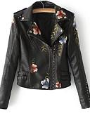 זול עור & עור מעילים עור-בגדי ריקוד נשים שחור בז' סגול M L XL ז'קטים מעור סגנון רחוב פרחוני דפוס צווארון פיטר פן ליציאה