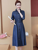 cheap Women's Dresses-Women's Going out Cotton Denim Dress - Solid Colored Shirt Collar
