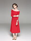 זול שמלות נשים-מקסי אחיד - שמלה נדן סגנון סיני בגדי ריקוד נשים