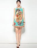 זול שמלות נשים-מעל הברך דפוס, פרחוני - שמלה גזרת A סגנון רחוב / בוהו בגדי ריקוד נשים