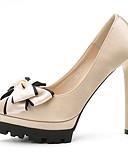 זול שמלות נשים-נעליים בד אביב / סתיו בלרינה בייסיק עקבים עקב סטילטו בוהן מחודדת פפיון שחור / אפור / אדום / חתונה / מסיבה וערב / מסיבה וערב