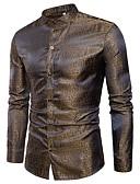 baratos Camisas Masculinas-Homens Camisa Social - Bandagem Jacquard, camuflagem Algodão / Manga Longa