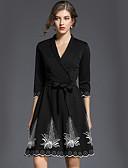 זול חולצות לנשים-צווארון V מידי דפוס, אחיד - שמלה גזרת A / סווינג סגנון רחוב עבודה בגדי ריקוד נשים