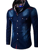 cheap Men's Shirts-Men's Cotton Shirt - Solid Colored Hooded