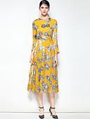 זול שמלות נשים-מידי דפוס, פרחוני - שמלה סווינג משי / דמוי פרווה בוהו / סגנון רחוב ליציאה בגדי ריקוד נשים