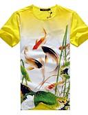 זול סוודרים וקרדיגנים לגברים-חיה צווארון עגול סגנון סיני כותנה, טישרט - בגדי ריקוד גברים דפוס / שרוולים קצרים