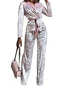 זול שמלות נשים-צווארון V מכנס מותניים גבוהים אחיד - סט קטיפה בגדי ריקוד נשים