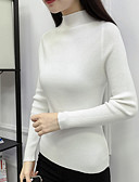 cheap Women's Sweaters-Women's Long Sleeve Pullover - Solid Colored Turtleneck / Fall / Winter