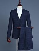 זול טרנינגים וקפוצ'ונים לגברים-אחיד פסים משובץ בסיסי חליפות-בגדי ריקוד גברים / שרוול ארוך