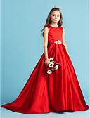 preiswerte Kleider für die Hochzeitsfeier-A-Linie / Prinzessin Schmuck Boden-Länge Satin Junior-Brautjungferkleid mit Schleife(n) / Kristall Verzierung / Plissee durch LAN TING BRIDE®