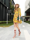 baratos Tops Femininos-Mulheres Boho Manga Alargamento Chifon Vestido Floral Estampa Colorida