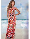 baratos Vestidos de Mulher-Mulheres Bainha Vestido - Estampado Nadador Cintura Alta Médio