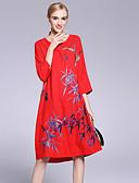 זול שמלות נשים-פרח, פרחוני - שמלה משוחרר סגנון סיני בגדי ריקוד נשים