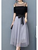 olcso Dresses For Date-Női Alkalmi Egyszerű Pamut A-vonalú Ruha Színes Térd feletti