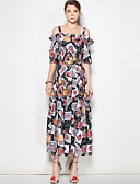 cheap Women's Dresses-Women's Going out Boho Swing Dress - Multi Color Print Strap