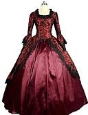 رخيصةأون جيبونات الأعراس-روكوكو / فيكتوريا كوستيوم للمرأة فساتين أحمر عتيقة تأثيري ستان 3/4 الكم بالون طول الأرض / طويل كوستيوم هالوين