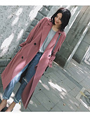 cheap Women's Wool & Wool Blend Coats-Women's Going out Fall / Winter Maxi Coat, Solid Colored Notch Lapel Long Sleeve Polyester Oversized Pink M / L / XL