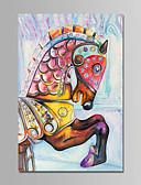 abordables Vestidos de Noche-Pintura al óleo pintada a colgar Pintada a mano - Animales Animales Modern Lona