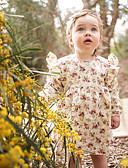 baratos Vestidos para Bebês-bebê Para Meninas Simples / Vintage Sólido / Floral Manga Curta Algodão / Linho / Fibra de Bamboo Vestido / Bébé