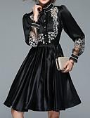 preiswerte Damen Kleider-Damen Festtage Retro Baumwolle Hülle Kleid Jacquard Knielang Rundhalsausschnitt