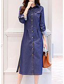 cheap Women's Dresses-Women's Cotton Denim Dress - Solid Colored Blue Shirt Collar