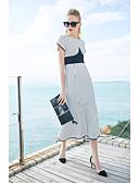 זול טרנינגים וקפוצ'ונים לנשים-מידי פסים - שמלה בתולת ים \חצוצרה כותנה סגנון רחוב בגדי ריקוד נשים