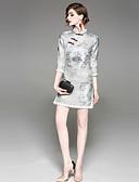 זול שמלות נשים-עומד סרוג - שמלה ישרה נדן סגנון סיני בגדי ריקוד נשים