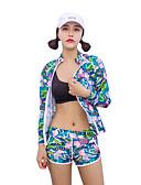 baratos Camisas Femininas-HISEA® Mulheres Segunda-pele para Mergulho A Prova de Vento, SPF50, Proteção Solar UV Fibra Sintética / Neoprene / Esponja Manga Longa Roupa de Banho Roupa de Praia Roupas de Mergulho Geométrica