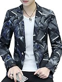 cheap Men's Blazers & Suits-Men's Active Plus Size Blazer-Geometric / Long Sleeve / Work
