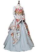 رخيصةأون الأزياء التنكرية التاريخية والقديمة-روكوكو فيكتوريا كوستيوم نسائي فساتين أزرق بحري عتيقة تأثيري 100% قطن كم طويل كم منفوخ عريض