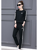 cheap Women's Two Piece Sets-Women's Hoodie - Striped, Print Pant Crew Neck / Fall / Sporty Look